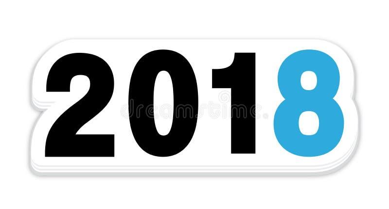 Icona dell'autoadesivo del nuovo anno di 2018 blu illustrazione di stock