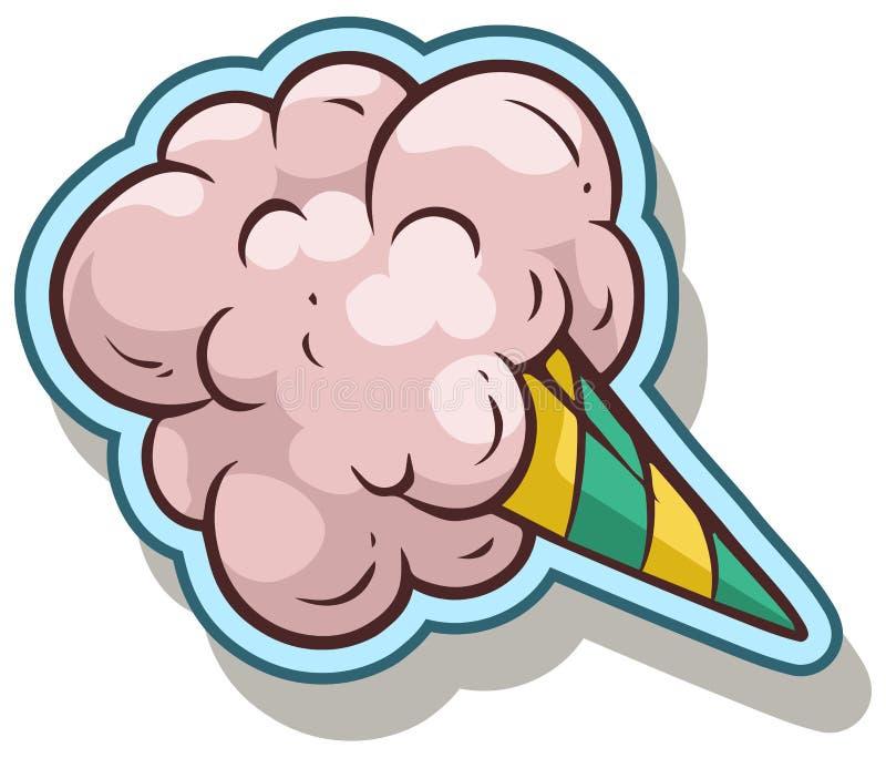 Icona dell'autoadesivo di vettore dello zucchero filato del fumetto illustrazione di stock