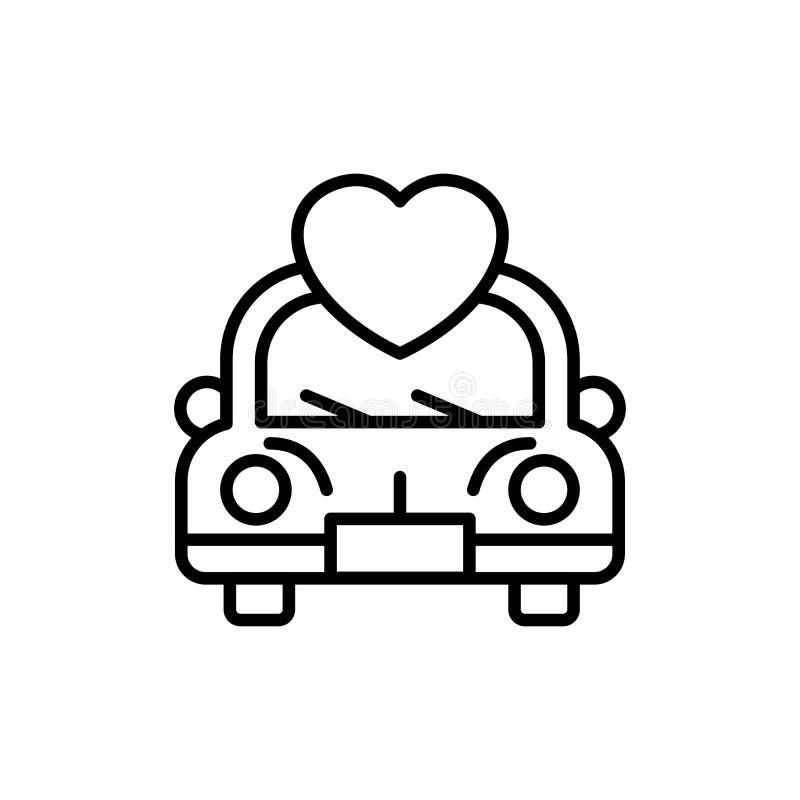 Icona dell'automobile di nozze con l'illustrazione di amore simbolo pulito semplice di monoline royalty illustrazione gratis