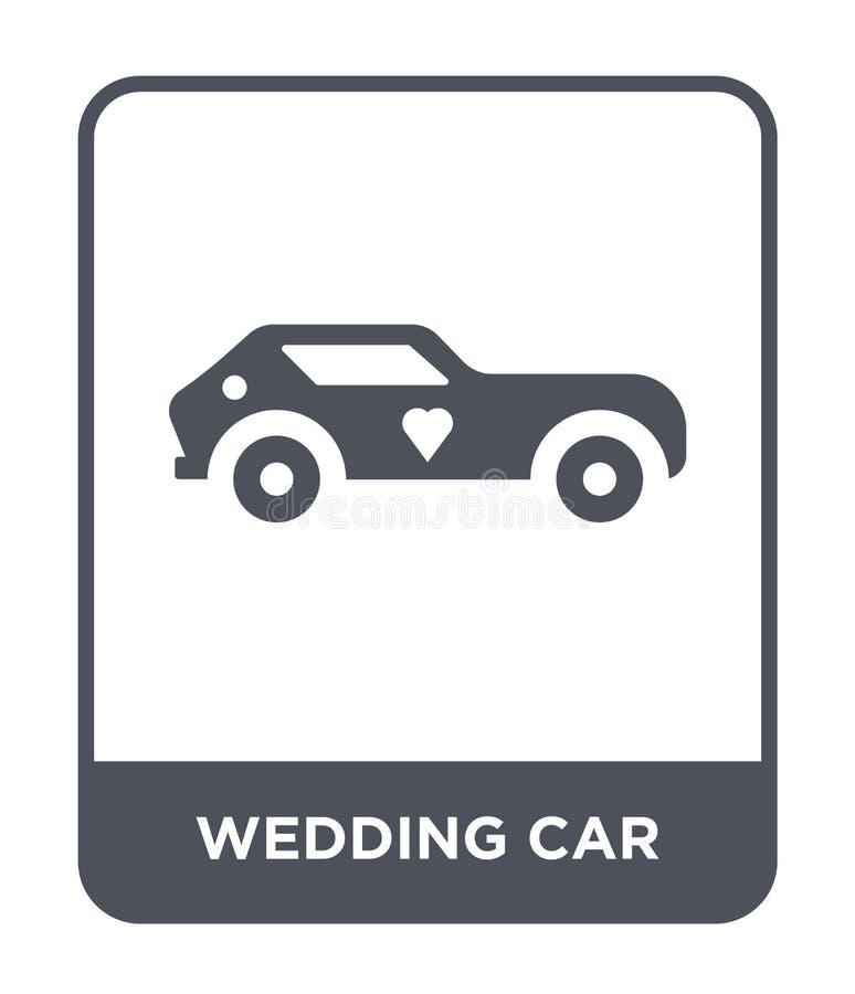 icona dell'automobile di nozze nello stile d'avanguardia di progettazione icona dell'automobile di nozze isolata su fondo bianco  illustrazione vettoriale