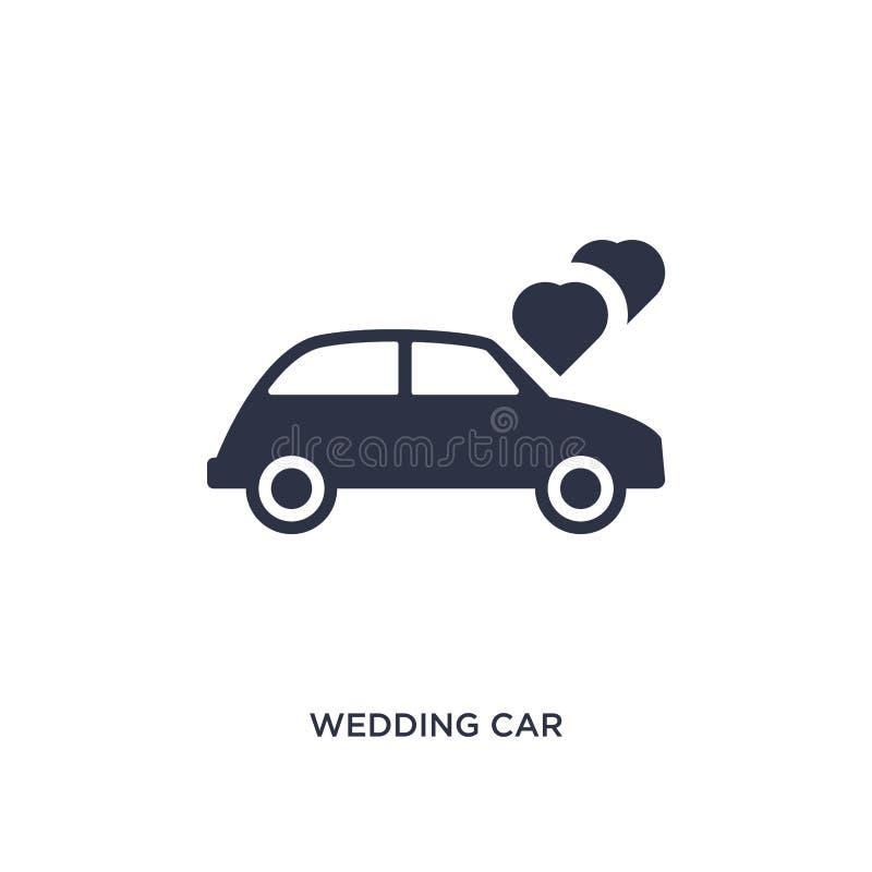icona dell'automobile di nozze su fondo bianco Illustrazione semplice dell'elemento dal concetto della festa di compleanno e di n royalty illustrazione gratis