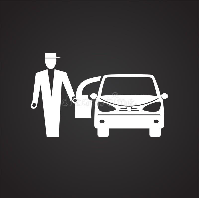 Icona dell'automobile di nozze su fondo nero per il grafico ed il web design, segno semplice moderno di vettore Concetto del Inte illustrazione vettoriale