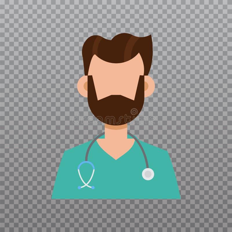 Icona dell'avatar di medico, icona del personale medico Illustrazione di vettore illustrazione vettoriale