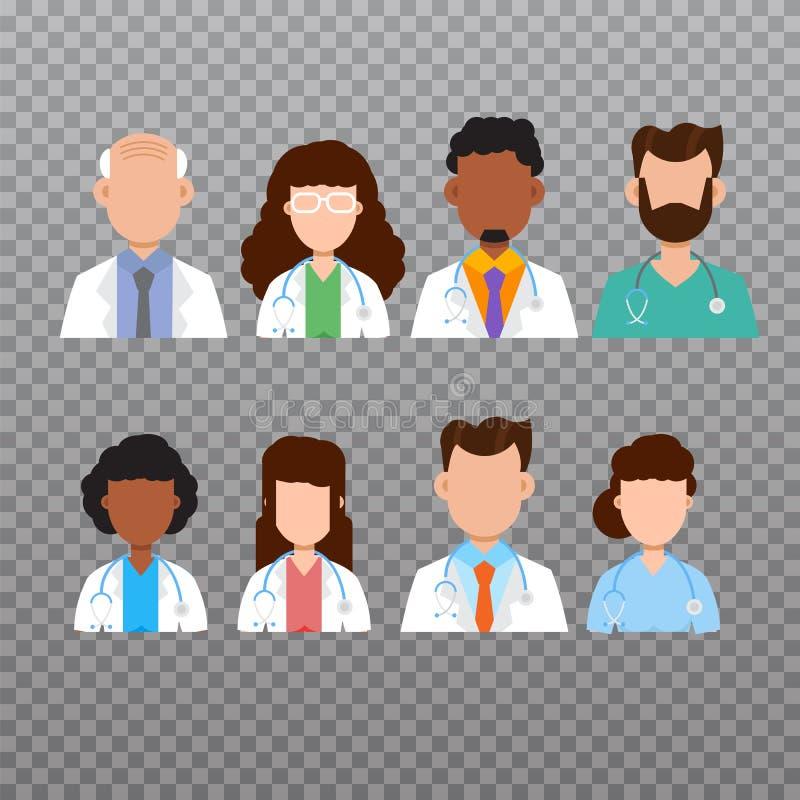 Icona dell'avatar di medico, icone del personale medico Illustrazione di vettore royalty illustrazione gratis