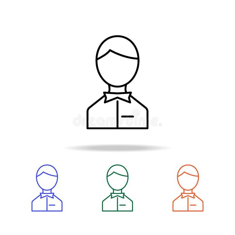 """icona dell'avatar di s """"\ del cameriere Elementi dell'icona semplice di web nel multi colore Icona premio di progettazione grafic royalty illustrazione gratis"""