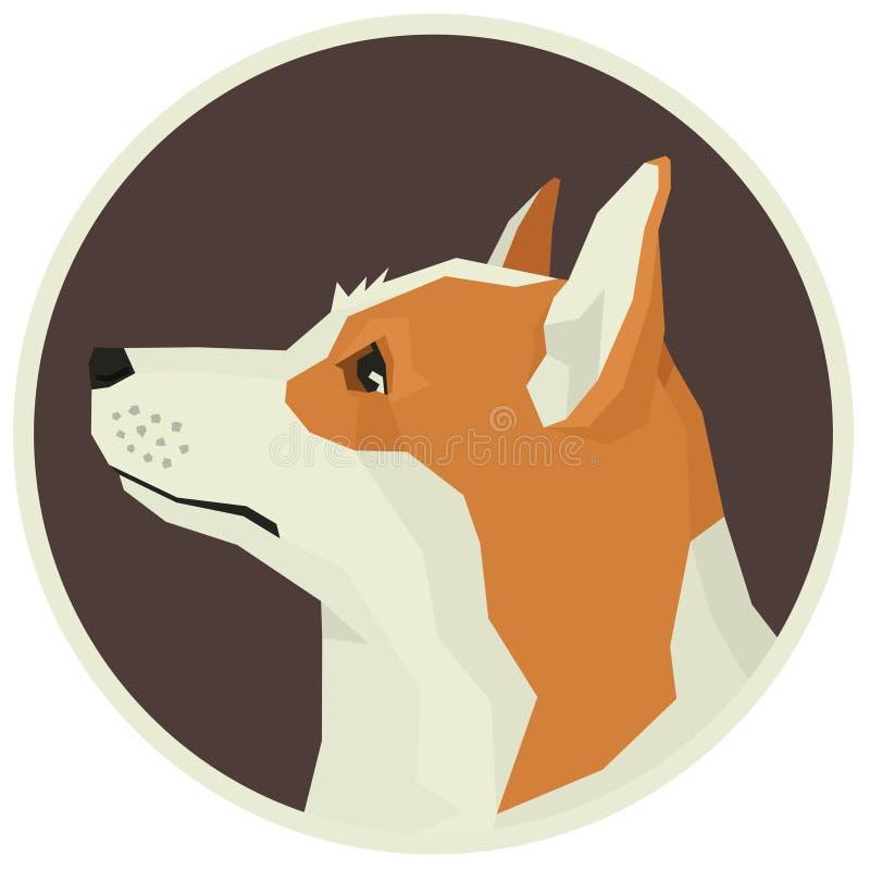 Icona dell'avatar di stile di Pembroke Welsh Corgi Geometric della raccolta del cane rotonda illustrazione vettoriale