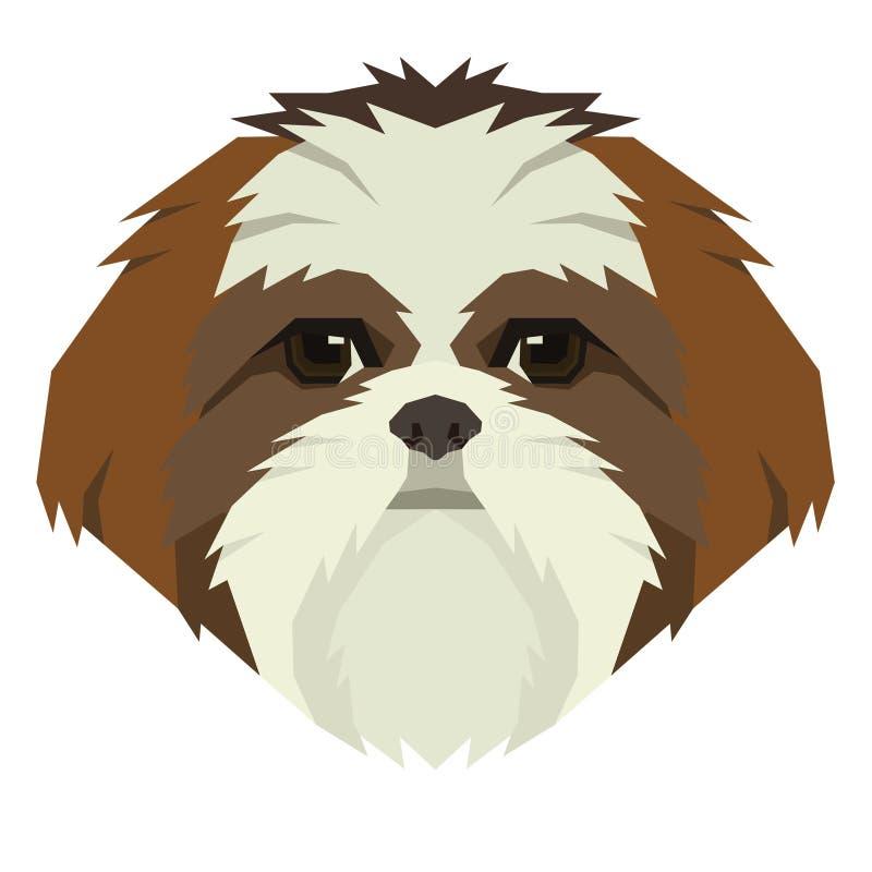 Icona dell'avatar di stile di Shih Tzu Geometric della raccolta del cane illustrazione di stock