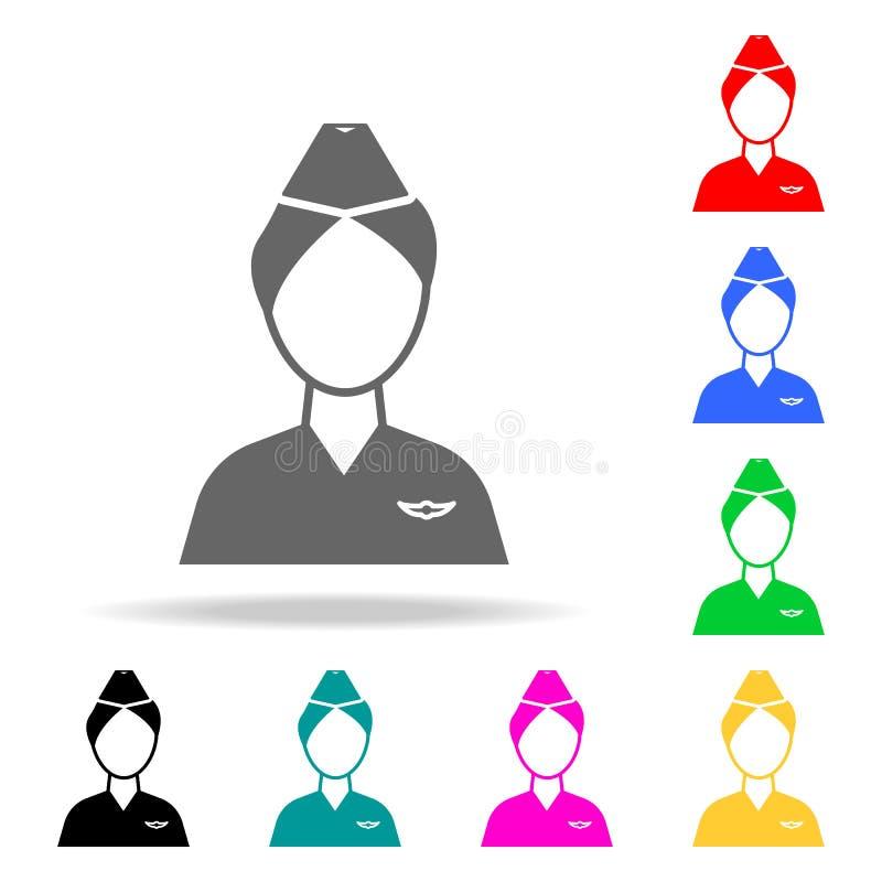 Icona dell'avatar dell'hostess Elementi di multi icone colorate dell'aeroporto Icona premio di progettazione grafica di qualità I illustrazione di stock