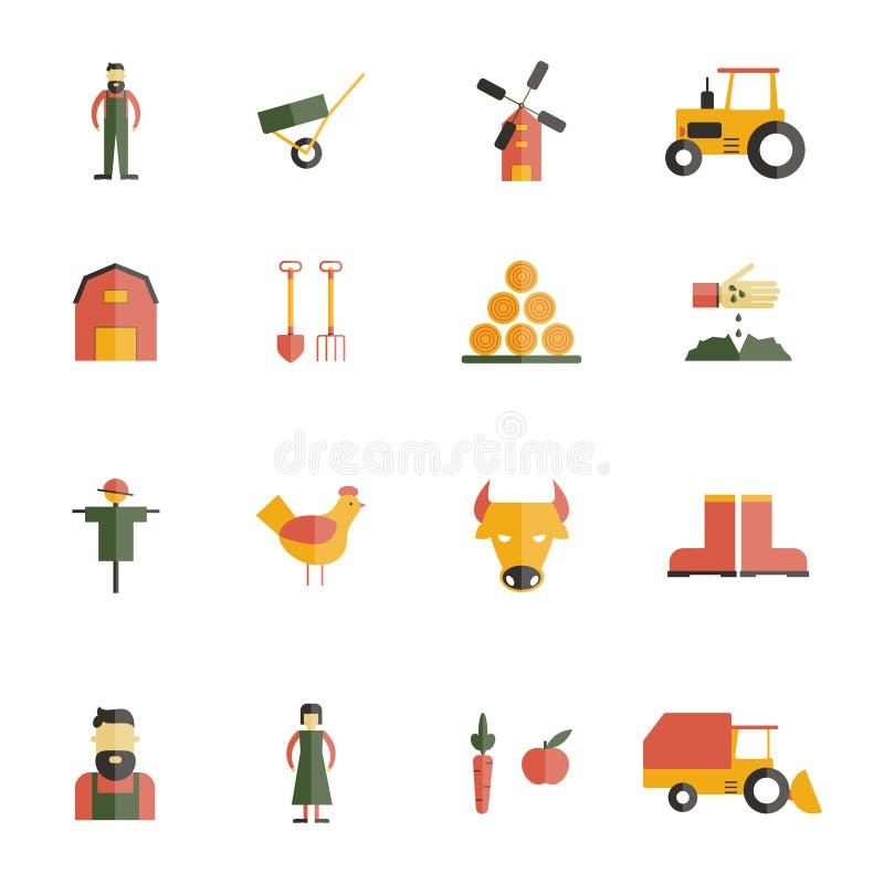 Icona dell'azienda agricola piana illustrazione vettoriale
