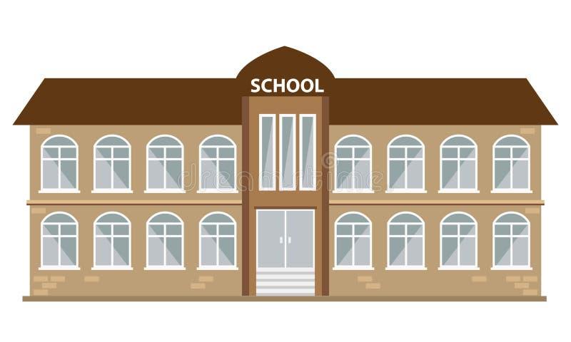 Icona dell'edificio scolastico con stile piano di colore Vettore illustrato illustrazione di stock