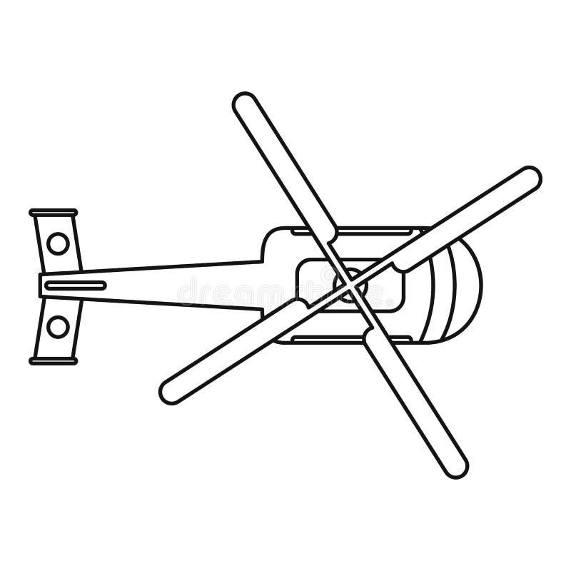Icona dell'elicottero di vista superiore, stile del profilo illustrazione di stock