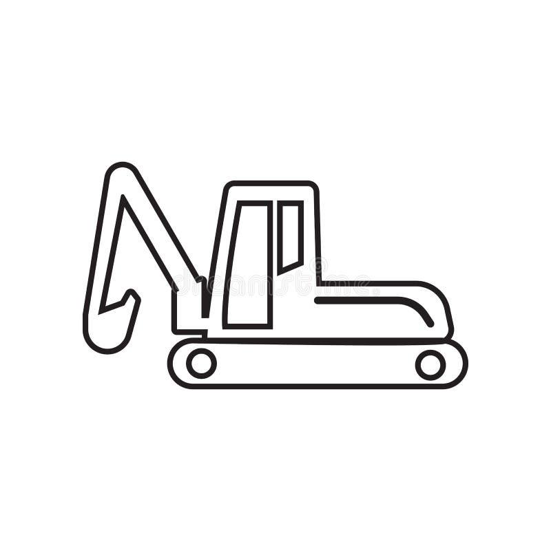 Icona dell'escavatore del cingolo Elemento degli strumenti di Constraction per il concetto e l'icona mobili dei apps di web Profi illustrazione vettoriale