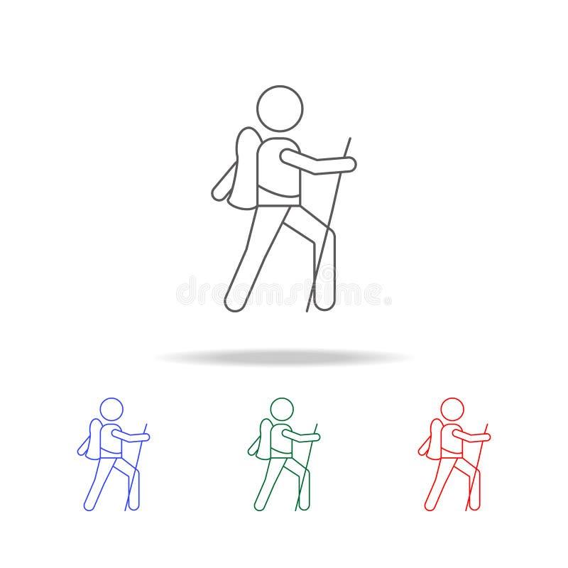 icona dell'esploratore Elementi delle icone colorate multi di campeggio Icona premio di progettazione grafica di qualità Icona se illustrazione di stock