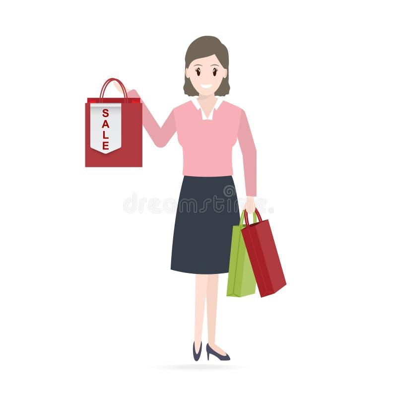 Icona dell'etichetta del sacchetto della spesa e di vendita della tenuta della donna illustrazione di stock