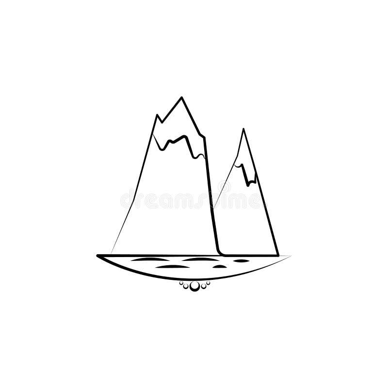 icona dell'iceberg del mare Elemento dell'icona del paesaggio per i apps mobili di web e di concetto L'icona disegnata a mano del illustrazione di stock