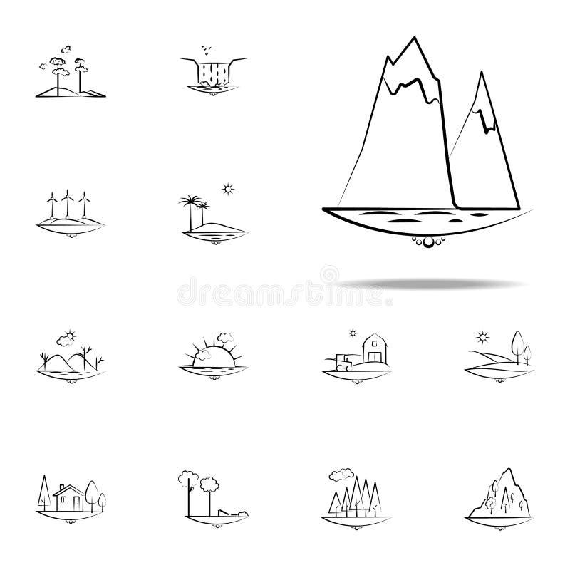 icona dell'iceberg del mare Insieme universale delle icone di Landspace per il web ed il cellulare illustrazione vettoriale