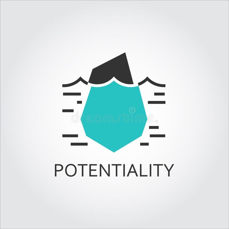 Icona dell'iceberg, del potenziale nascosto e dell'opportunità illustrazione di stock