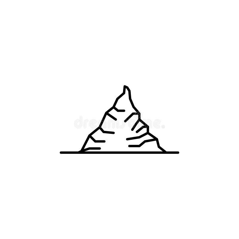 Icona dell'iceberg Elemento dell'icona del paesaggio per i apps mobili di web e di concetto La linea sottile icona dell'iceberg p illustrazione di stock