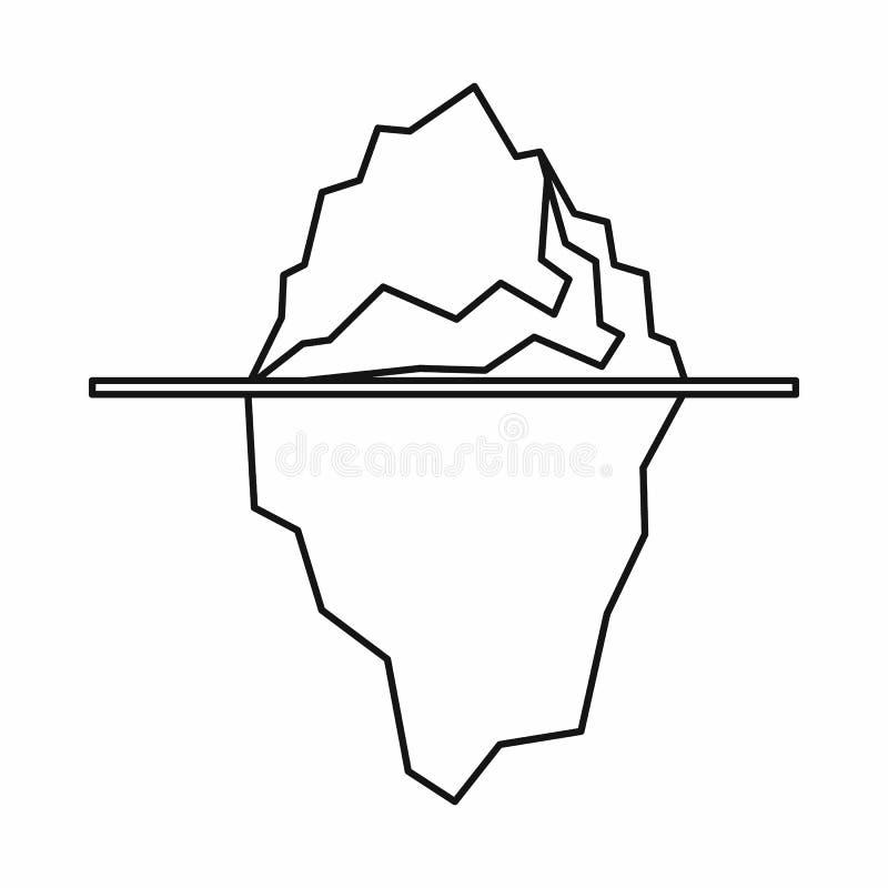 Icona dell'iceberg, stile del profilo illustrazione di stock
