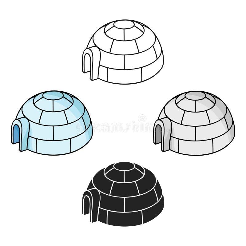 Icona dell'iglù nel fumetto, stile nero isolato su fondo bianco Illustrazione di vettore delle azione di simbolo della stazione s illustrazione vettoriale