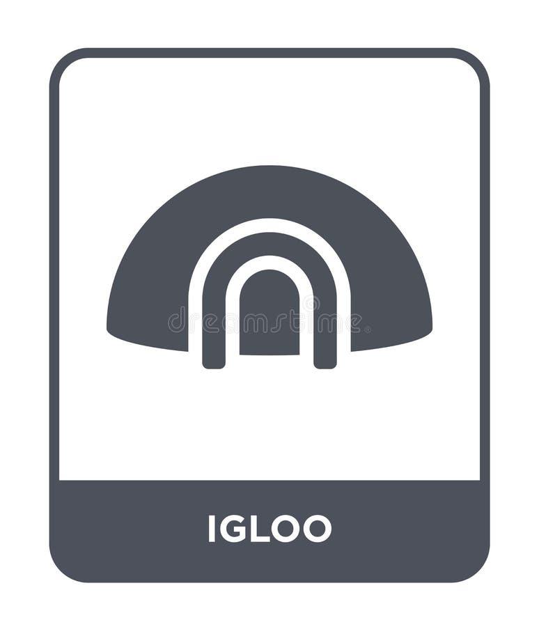 icona dell'iglù nello stile d'avanguardia di progettazione Icona dell'iglù isolata su fondo bianco simbolo piano semplice e moder illustrazione vettoriale