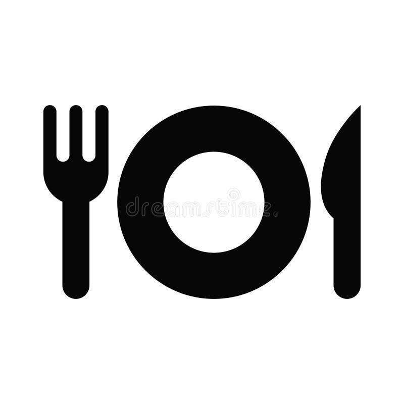 Icona dell'illustrazione di vettore della forcella nera e del coltello del piatto isolati su fondo bianco illustrazione di stock