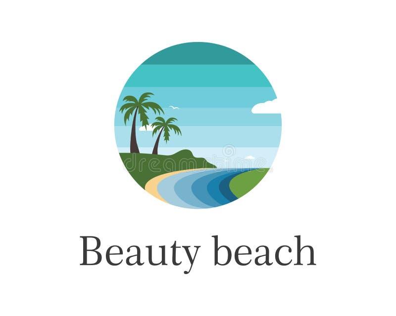 icona dell'illustrazione di vettore della spiaggia del viaggio e della festa illustrazione di stock