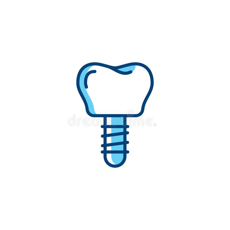 Icona dell'impianto dentario, perno del dente, logo prostetico di odontoiatria Linea sottile icone di cure odontoiatriche di arte illustrazione vettoriale