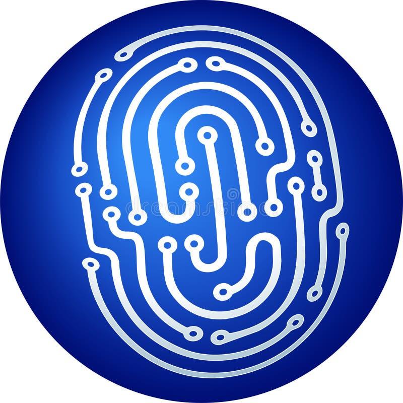 Icona dell'impronta digitale di identità in blu in una sfera di tre dimensioni royalty illustrazione gratis