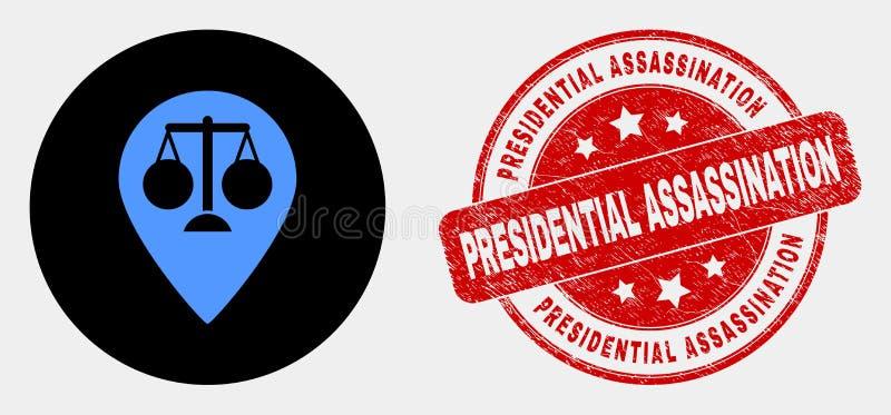 Icona dell'indicatore della mappa della giustizia di vettore e bollo presidenziale graffiato di assassinio illustrazione vettoriale