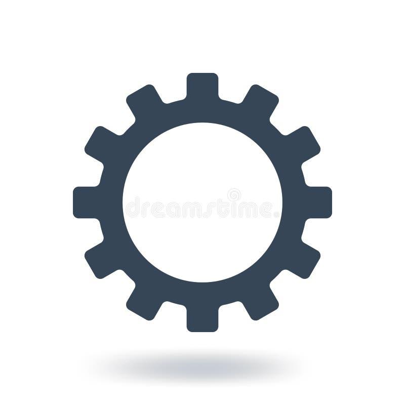 Icona dell'ingranaggio del materiale di riempimento Simbolo delle regolazioni Stile piano Illustrazione di vettore isolata su pri royalty illustrazione gratis