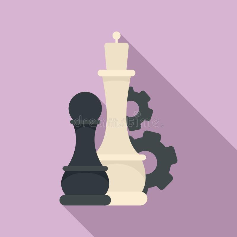 Icona dell'ingranaggio di logica di scacchi, stile piano illustrazione vettoriale