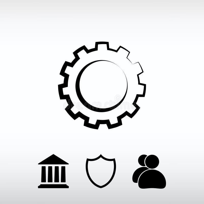 Icona dell'ingranaggio, illustrazione di vettore Stile piano di progettazione immagini stock