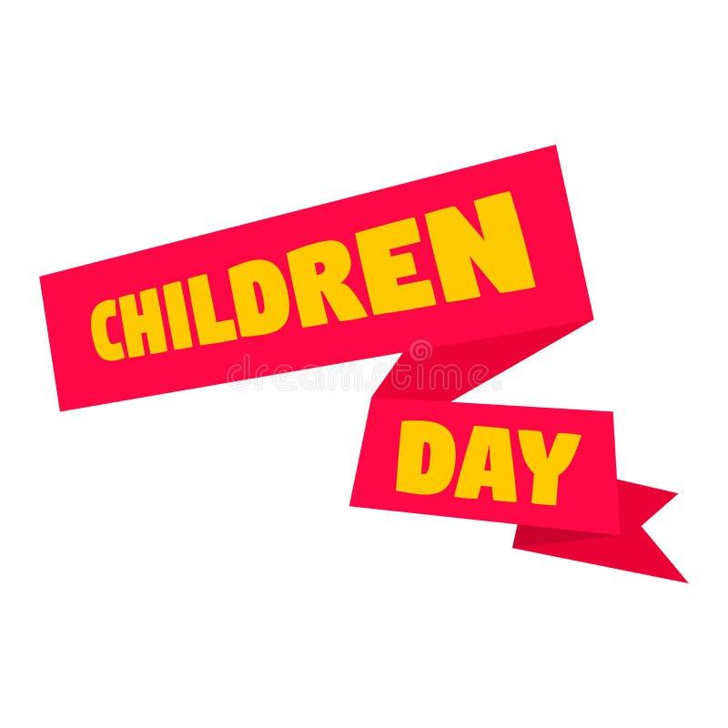 Icona dell'insegna di giorno dei bambini, stile piano illustrazione vettoriale