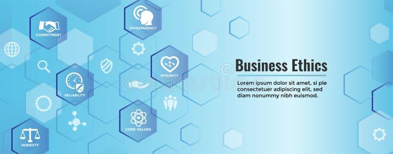Icona dell'insegna di web di etiche imprenditoriali messa con onestà, integrità, COM illustrazione di stock