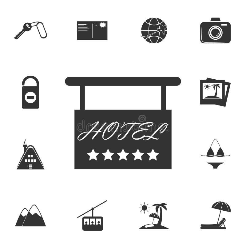 Icona dell'insegna dell'hotel Insieme dettagliato delle icone di viaggio Progettazione grafica premio Una delle icone della racco illustrazione vettoriale