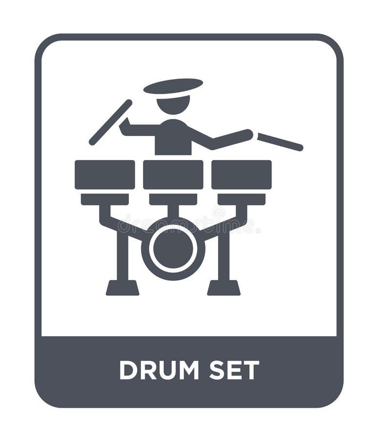 icona dell'insieme del tamburo nello stile d'avanguardia di progettazione icona dell'insieme del tamburo isolata su fondo bianco  illustrazione vettoriale