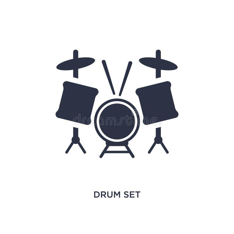 icona dell'insieme del tamburo su fondo bianco Illustrazione semplice dell'elemento dal concetto di hobby illustrazione vettoriale