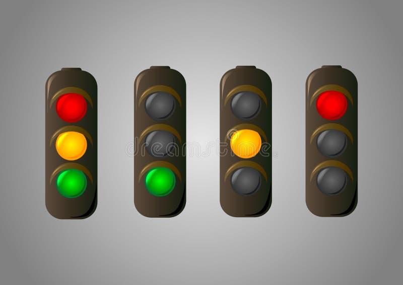 Icona dell'insieme di vettore di semaforo per i webmaster illustrazione di stock