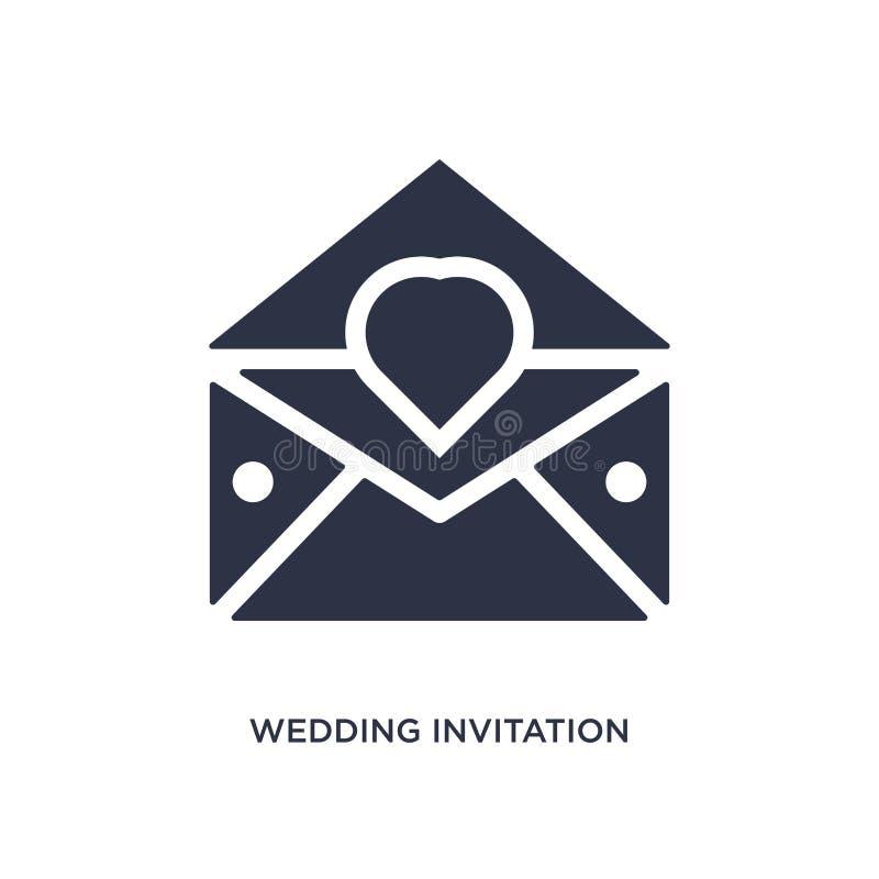 icona dell'invito di nozze su fondo bianco Illustrazione semplice dell'elemento dal concetto di nozze & di amore illustrazione di stock