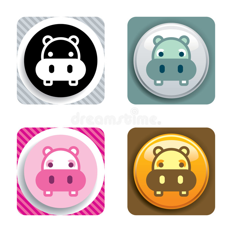 Icona dell'ippopotamo immagini stock