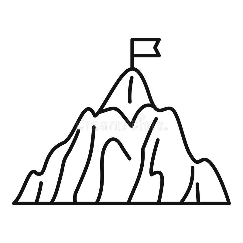 Icona dell'obiettivo di affari della montagna, stile del profilo royalty illustrazione gratis