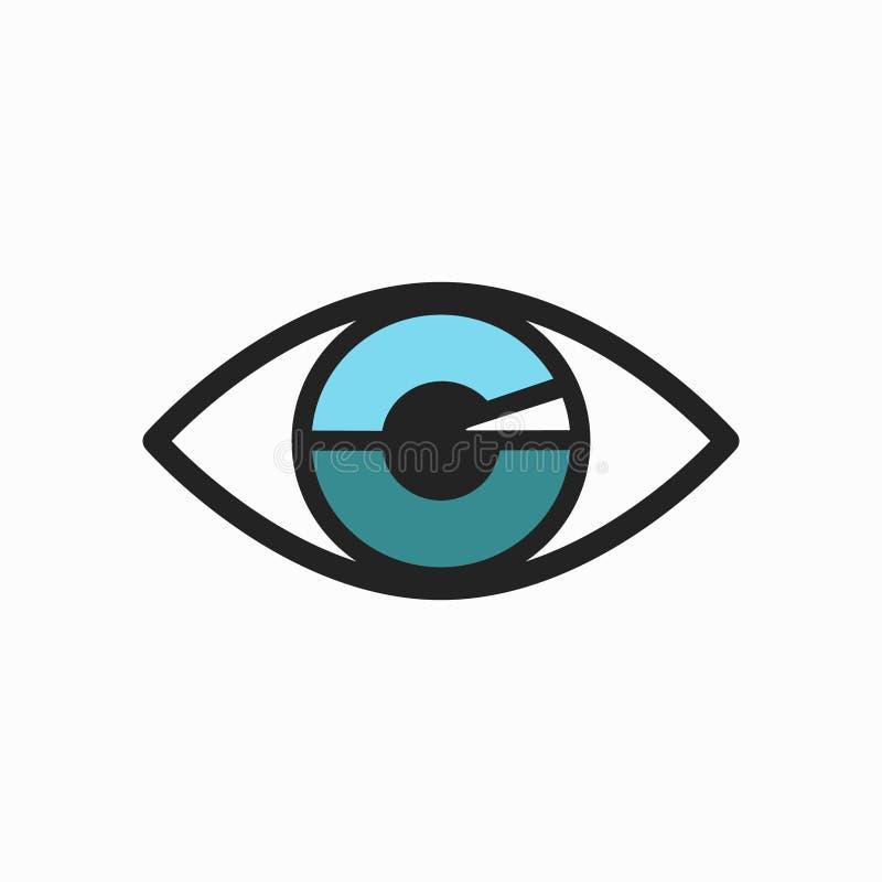 Icona dell'occhio azzurro con rivestimento nero illustrazione di stock