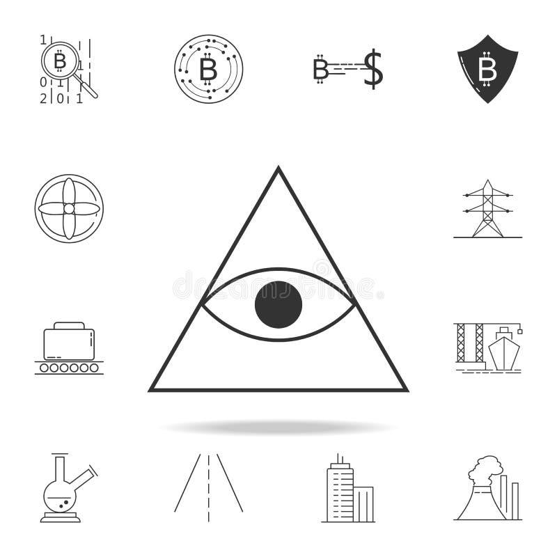 icona dell'occhio della piramide Insieme dettagliato delle icone e dei segni di web Progettazione grafica premio Una delle icone  illustrazione di stock