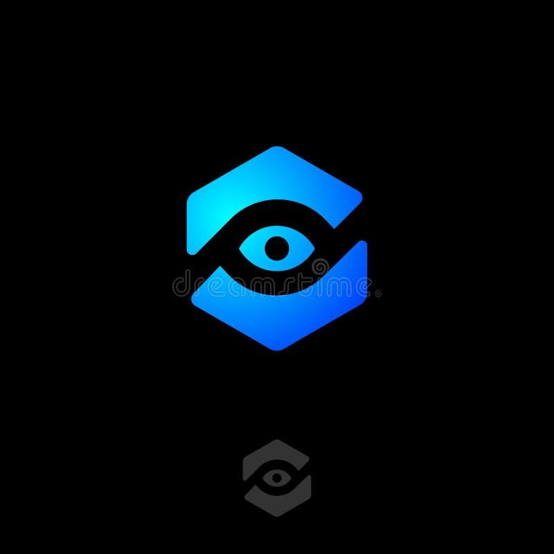 Icona dell'occhio, UI Inseguimento, controllante logo Emblemi di cura dell'occhio Vista, webcam, icone di sorveglianza illustrazione di stock