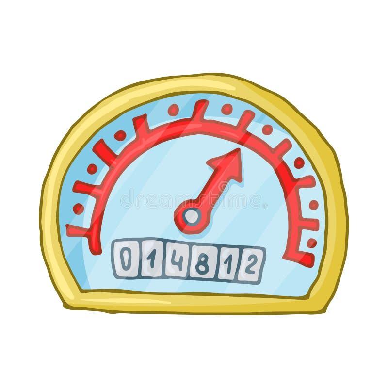 Icona dell'odometro e del tachimetro, stile del fumetto illustrazione di stock