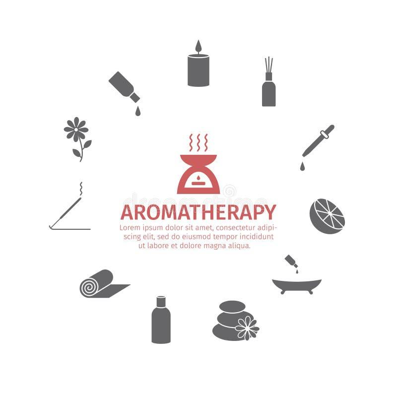 Icona dell'olio essenziale Oli di aromaterapia messi Vettore royalty illustrazione gratis