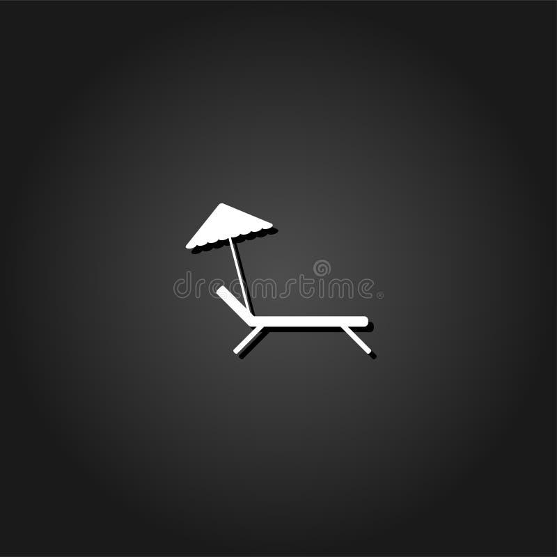 Icona dell'ombrello e della chaise-lounge di spiaggia pianamente illustrazione vettoriale