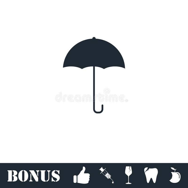 Icona dell'ombrello piana illustrazione di stock