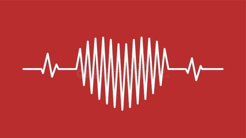 Icona dell'onda sonora di impulso del cuore illustrazione di stock